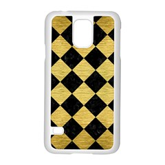 Square2 Black Marble & Gold Brushed Metal Samsung Galaxy S5 Case (white) by trendistuff