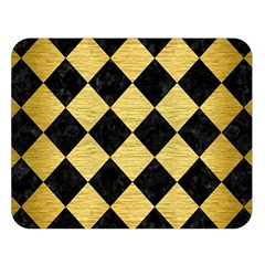 Square2 Black Marble & Gold Brushed Metal Double Sided Flano Blanket (large)
