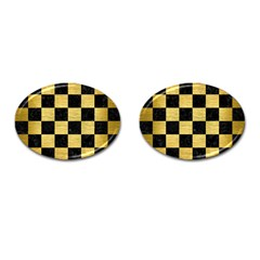Square1 Black Marble & Gold Brushed Metal Cufflinks (oval) by trendistuff
