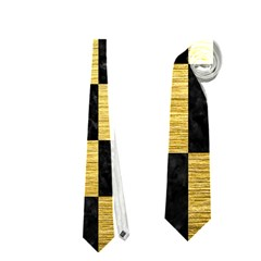 Square1 Black Marble & Gold Brushed Metal Necktie (two Side)