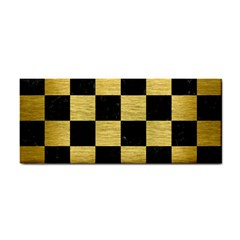 Square1 Black Marble & Gold Brushed Metal Hand Towel by trendistuff