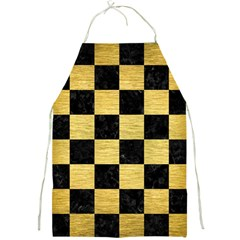 Square1 Black Marble & Gold Brushed Metal Full Print Apron by trendistuff
