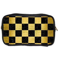 Square1 Black Marble & Gold Brushed Metal Toiletries Bag (two Sides) by trendistuff