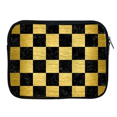 Square1 Black Marble & Gold Brushed Metal Apple Ipad Zipper Case by trendistuff