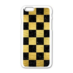 Square1 Black Marble & Gold Brushed Metal Apple Iphone 6/6s White Enamel Case by trendistuff