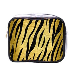 Skin3 Black Marble & Gold Brushed Metal (r) Mini Toiletries Bag (one Side) by trendistuff