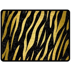 Skin3 Black Marble & Gold Brushed Metal Double Sided Fleece Blanket (large) by trendistuff