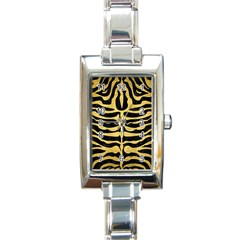 Skin2 Black Marble & Gold Brushed Metal Rectangle Italian Charm Watch by trendistuff