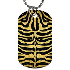 Skin2 Black Marble & Gold Brushed Metal Dog Tag (one Side) by trendistuff