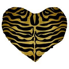 Skin2 Black Marble & Gold Brushed Metal Large 19  Premium Flano Heart Shape Cushion by trendistuff