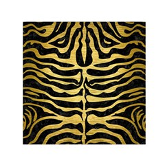 Skin2 Black Marble & Gold Brushed Metal Small Satin Scarf (square) by trendistuff