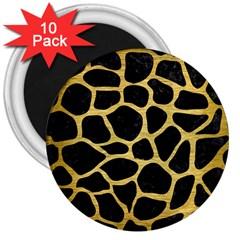 Skin1 Black Marble & Gold Brushed Metal (r) 3  Magnet (10 Pack)