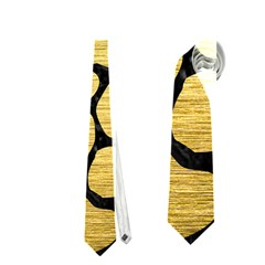 Skin1 Black Marble & Gold Brushed Metal Necktie (one Side)