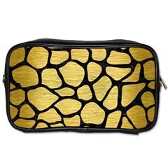 Skin1 Black Marble & Gold Brushed Metal Toiletries Bag (two Sides) by trendistuff
