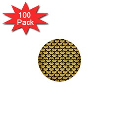 Scales3 Black Marble & Gold Brushed Metal (r) 1  Mini Button (100 Pack)  by trendistuff