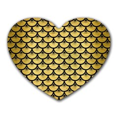Scales3 Black Marble & Gold Brushed Metal (r) Heart Mousepad by trendistuff