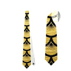 Scales3 Black Marble & Gold Brushed Metal (r) Necktie (one Side)