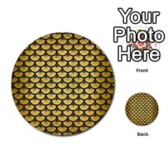 Scales3 Black Marble & Gold Brushed Metal (r) Multi Purpose Cards (round)