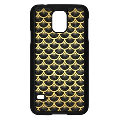 Scales3 Black Marble & Gold Brushed Metal Samsung Galaxy S5 Case (black) by trendistuff