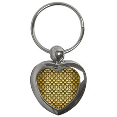 Scales2 Black Marble & Gold Brushed Metal (r) Key Chain (heart) by trendistuff