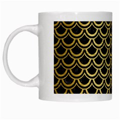 Scales2 Black Marble & Gold Brushed Metal White Mug