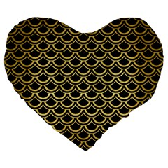 Scales2 Black Marble & Gold Brushed Metal Large 19  Premium Flano Heart Shape Cushion by trendistuff