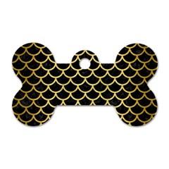 Scales1 Black Marble & Gold Brushed Metal Dog Tag Bone (one Side) by trendistuff