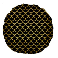 Scales1 Black Marble & Gold Brushed Metal Large 18  Premium Round Cushion  by trendistuff