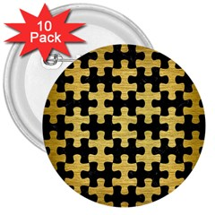 Puzzle1 Black Marble & Gold Brushed Metal 3  Button (10 Pack) by trendistuff