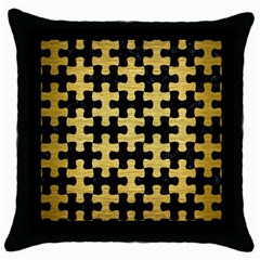 Puzzle1 Black Marble & Gold Brushed Metal Throw Pillow Case (black) by trendistuff
