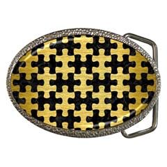 Puzzle1 Black Marble & Gold Brushed Metal Belt Buckle by trendistuff