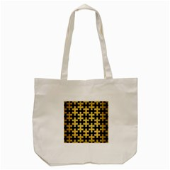 Puzzle1 Black Marble & Gold Brushed Metal Tote Bag (cream) by trendistuff