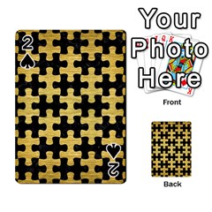 Puzzle1 Black Marble & Gold Brushed Metal Playing Cards 54 Designs