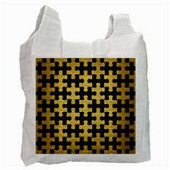 Puzzle1 Black Marble & Gold Brushed Metal Recycle Bag (two Side) by trendistuff