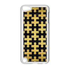 Puzzle1 Black Marble & Gold Brushed Metal Apple Ipod Touch 5 Case (white) by trendistuff