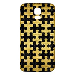 Puzzle1 Black Marble & Gold Brushed Metal Samsung Galaxy S5 Back Case (white) by trendistuff