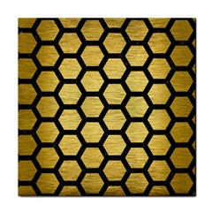 Hexagon2 Black Marble & Gold Brushed Metal (r) Tile Coaster by trendistuff
