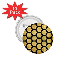 Hexagon2 Black Marble & Gold Brushed Metal (r) 1 75  Button (10 Pack)  by trendistuff