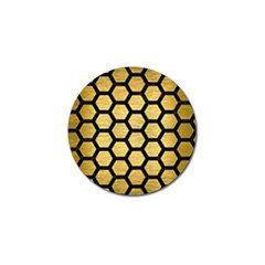Hexagon2 Black Marble & Gold Brushed Metal (r) Golf Ball Marker (10 Pack) by trendistuff