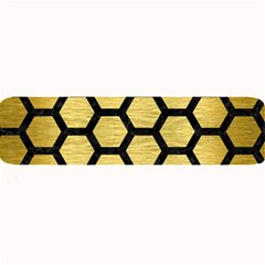 Hexagon2 Black Marble & Gold Brushed Metal (r) Large Bar Mat by trendistuff