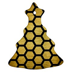 Hexagon2 Black Marble & Gold Brushed Metal (r) Ornament (christmas Tree)  by trendistuff