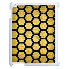 Hexagon2 Black Marble & Gold Brushed Metal (r) Apple Ipad 2 Case (white) by trendistuff