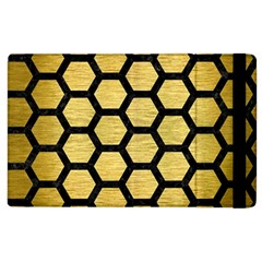 Hexagon2 Black Marble & Gold Brushed Metal (r) Apple Ipad 3/4 Flip Case by trendistuff