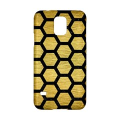 Hexagon2 Black Marble & Gold Brushed Metal (r) Samsung Galaxy S5 Hardshell Case  by trendistuff