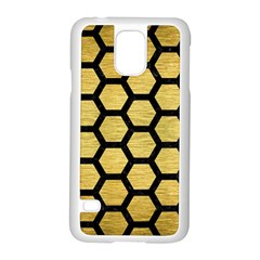Hexagon2 Black Marble & Gold Brushed Metal (r) Samsung Galaxy S5 Case (white) by trendistuff