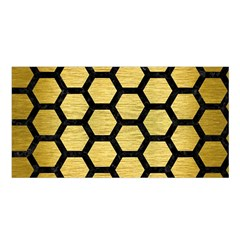Hexagon2 Black Marble & Gold Brushed Metal (r) Satin Shawl by trendistuff
