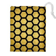 Hexagon2 Black Marble & Gold Brushed Metal (r) Drawstring Pouch (xxl) by trendistuff