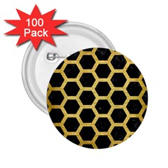 Hexagon2 Black Marble & Gold Brushed Metal 2 25  Button (100 Pack) by trendistuff