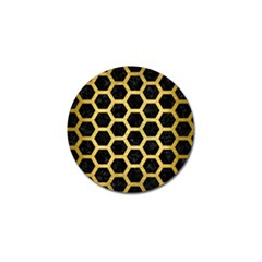 Hexagon2 Black Marble & Gold Brushed Metal Golf Ball Marker (4 Pack) by trendistuff