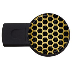 Hexagon2 Black Marble & Gold Brushed Metal Usb Flash Drive Round (2 Gb) by trendistuff